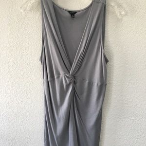 ANN TAYLOR Gray Twist Front Tank Top